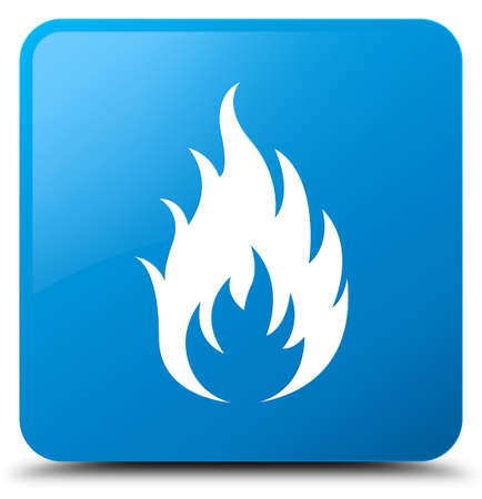 Fire icon isolated on cyan blue square button abstract illustration