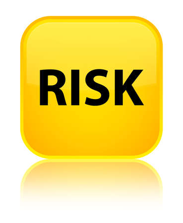 Risk isolated on special yellow square button reflected abstract illustration