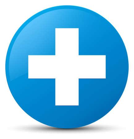 プラス アイコン シアン ブルーの丸いボタンの抽象的なイラストに分離 写真素材