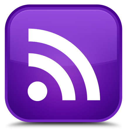 RSS icon isolated on special purple square button abstract illustration