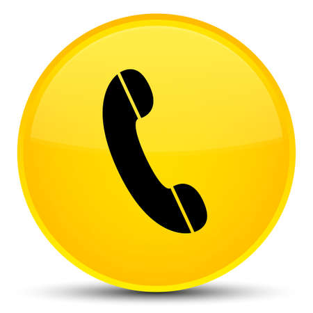 Phone icon isolated on special yellow round button abstract illustration