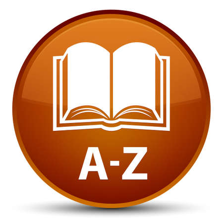special education: A-Z (book icon) isolated on special brown round button abstract illustration Stock Photo