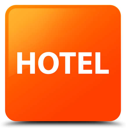 Hotel isolated on orange square button abstract illustration