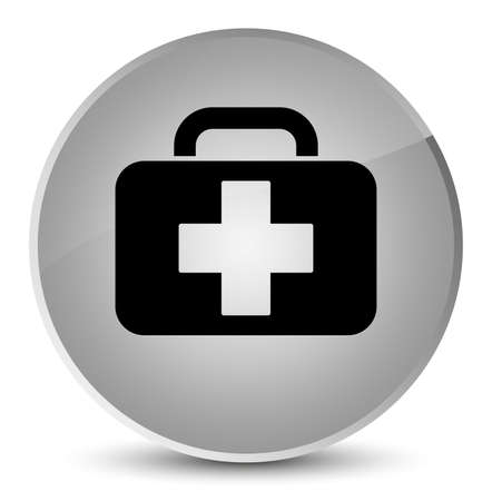 Medical bag icon isolated on elegant white round button abstract illustration Zdjęcie Seryjne - 88982066