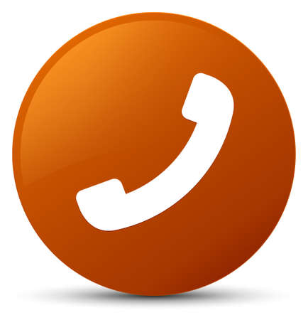 Phone icon isolated on brown round button abstract illustration