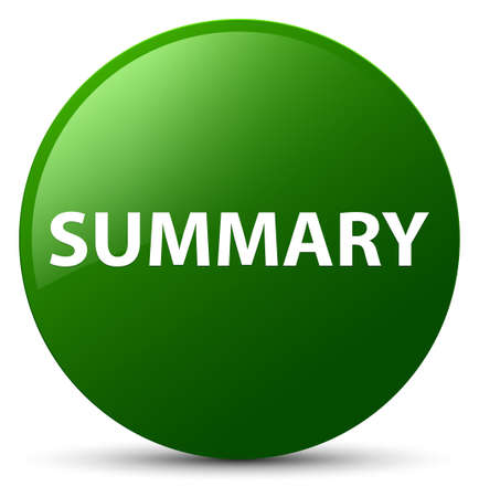 Summary isolated on green round button abstract illustration