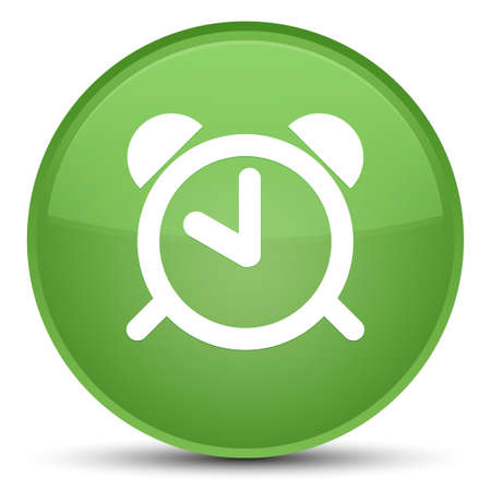 Alarm clock icon isolated on special soft green round button abstract illustration