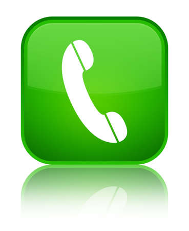 Phone icon isolated on special green square button reflected abstract illustration Stock Photo