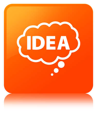 Idea bubble icon isolated on orange square button reflected abstract illustration
