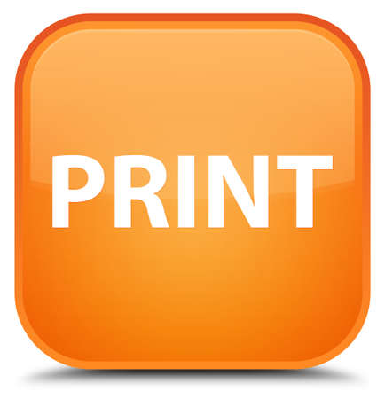 Print isolated on special orange square button abstract illustration