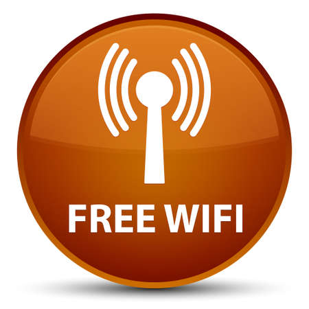 Free wifi (wlan network) isolated on special brown round button abstract illustration Stock Photo