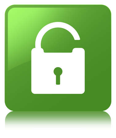 Unlock icon isolated on soft green square button reflected abstract illustration Stock Photo