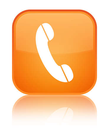 hotline: Phone icon isolated on special orange square button reflected abstract illustration
