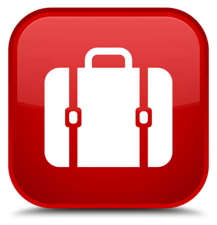 Bag icon isolated on special red square button abstract illustration