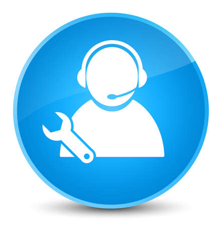 Tech support icon isolated on elegant cyan blue round button abstract illustration