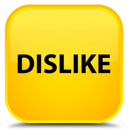 Dislike isolated on special yellow square button abstract illustration Stock Photo