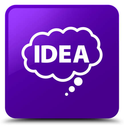 Idea bubble icon isolated on purple square button abstract illustration Stock fotó