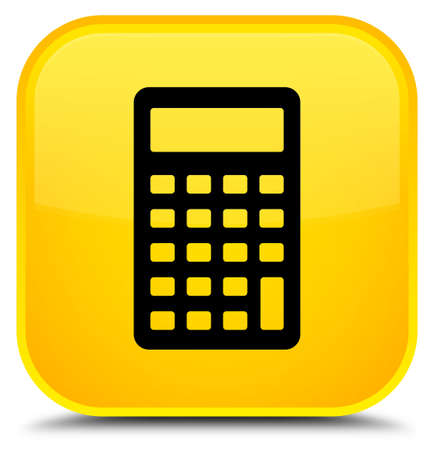 Calculator icon isolated on special yellow square button abstract illustration