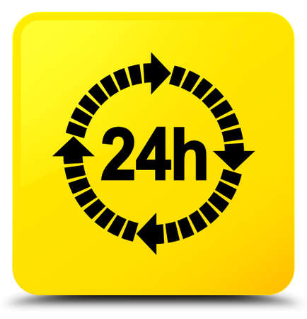24 hours delivery icon isolated on yellow square button abstract illustration Stock Photo