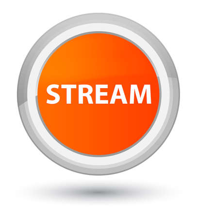 Stream isolated on prime orange round button abstract illustration Banco de Imagens