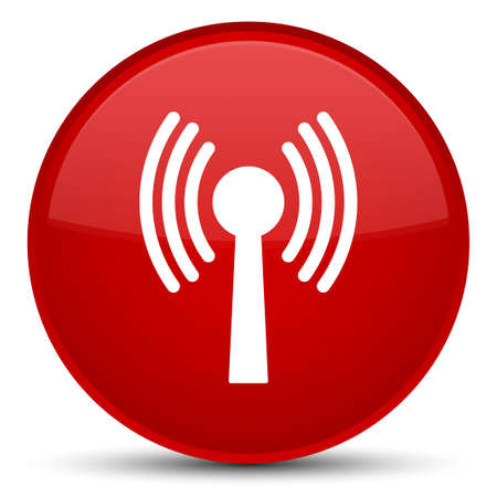 Wlan network icon isolated on special red round button abstract illustration