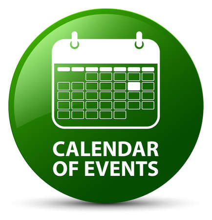Calendar of events isolated on green round button abstract illustration Stock Photo