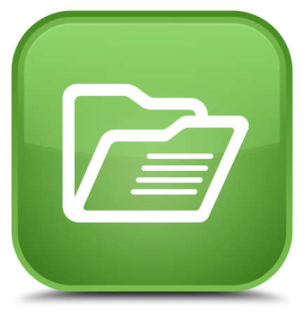 directory: Folder icon isolated on special soft green square button abstract illustration Stock Photo