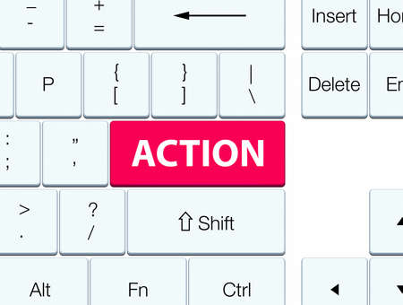 Action isolated on pink keyboard button abstract illustration Stok Fotoğraf
