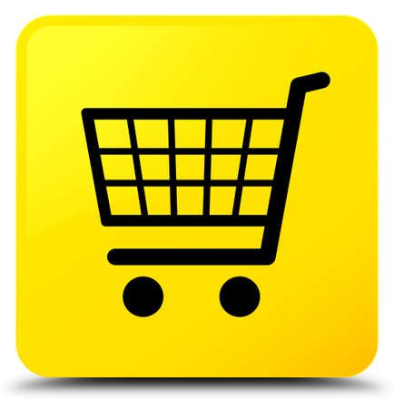 Ecommerce icon isolated on yellow square button abstract illustration