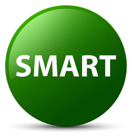 Smart isolated on green round button abstract illustration Imagens