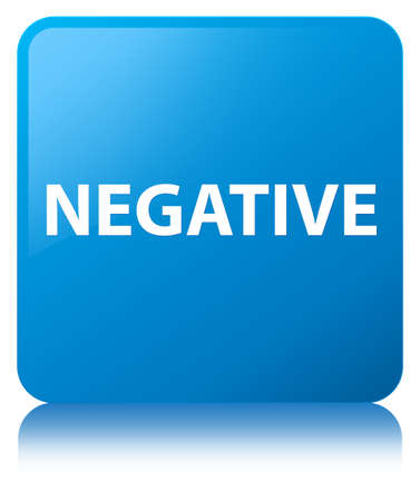 Negative isolated on cyan blue square button reflected abstract illustration Stock Photo