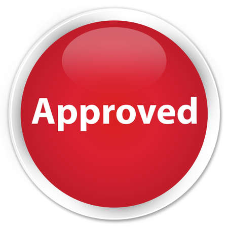 Approved isolated on premium red round button abstract illustration Stock Photo