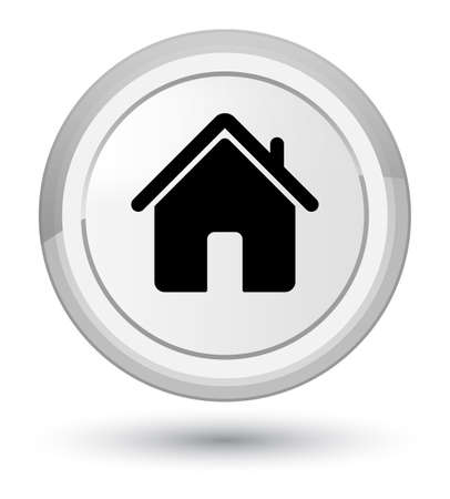 Home icon isolated on prime white round button abstract illustration