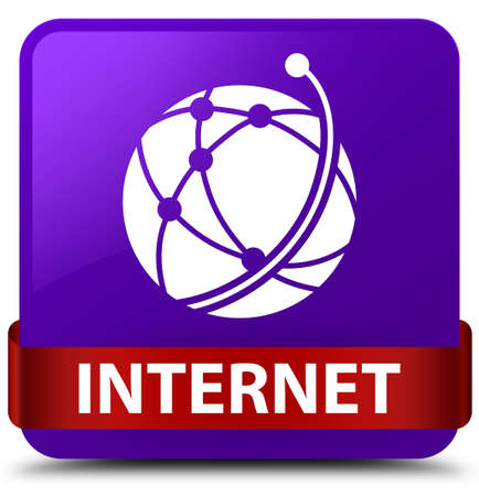 Internet (global network icon) isolated on purple square button with red ribbon in middle abstract illustration