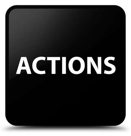 Actions isolated on black square button abstract illustration