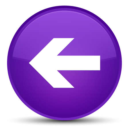 Back arrow icon isolated on special purple round button abstract illustration