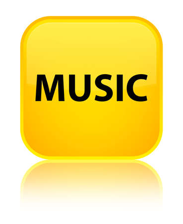 Music isolated on special yellow square button reflected abstract illustration