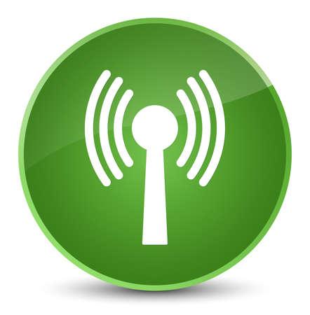 Wlan icône de réseau isolé sur élégant bouton rond vert vert illustration vectorielle Banque d'images - 89010301