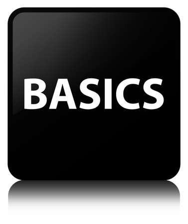 Basics isolated on black square button reflected abstract illustration Фото со стока