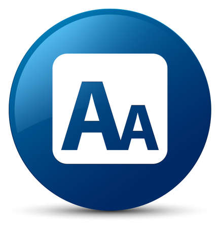 Font size box icon isolated on blue round button abstract illustration Stock Photo
