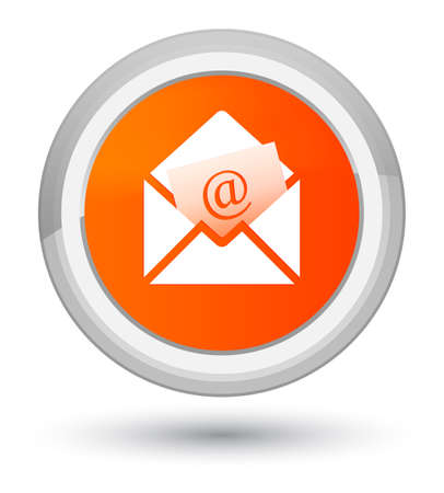 Newsletter email icon isolated on prime orange round button abstract illustration