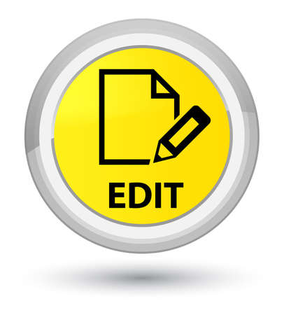 Edit isolated on prime yellow round button abstract illustration Stock Photo
