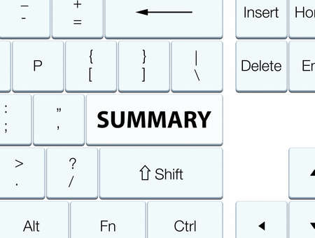 Summary isolated on white keyboard button abstract illustration