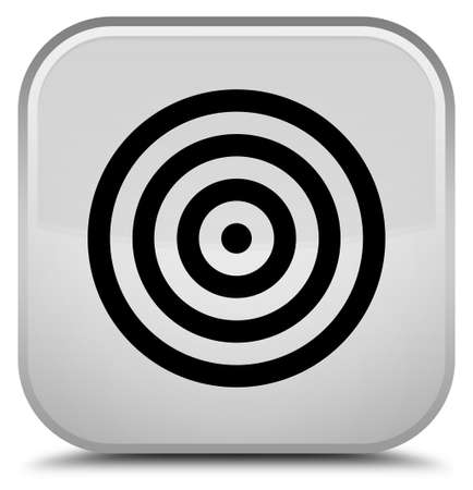 Target icon isolated on special white square button abstract illustration