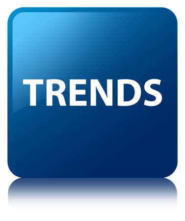 Trends isolated on blue square button reflected abstract illustration