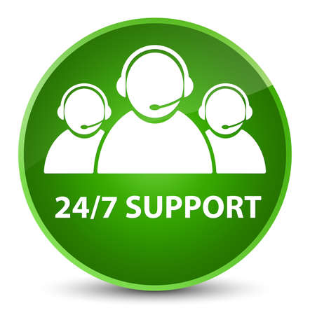 247 Support (customer care team icon) isolated on elegant green round button abstract illustration