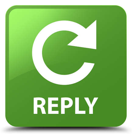 Reply (rotate arrow icon) isolated on soft green square button abstract illustration