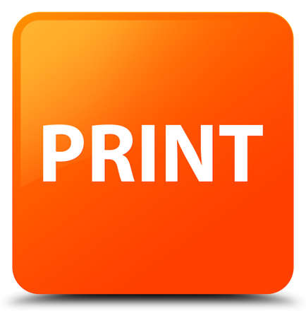 Print isolated on orange square button abstract illustration