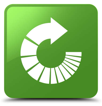 Rotate arrow icon isolated on soft green square button abstract illustration