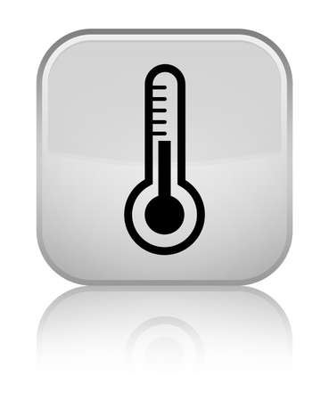 medical instrument: Thermometer icon isolated on special white square button reflected abstract illustration